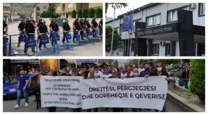 Протест за загинатите од пожарот во Тетово, пробиен полицискиот кордон пред седиштето на ДУИ